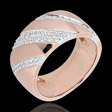 Ring Intense - rose gold. white gold and diamonds