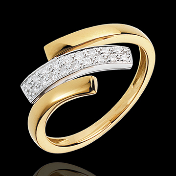Yellow And White Gold Feline Mark Ring