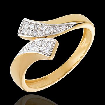 Ribbon shaped ring paved yellow gold - 24 diamonds