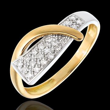 Siren ring yellow and white gold paved - 20diamonds