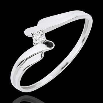 Solitaire Precious Nest - Swan - white gold - 18 carats