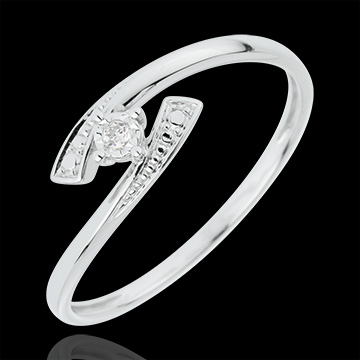 Solitaire Ring Precious Nest - Tell me Yes - white gold - 18 carats