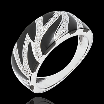Ring Wild Feline - black lacquer and diamonds