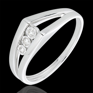 White Gold and Diamond Odyssey Trilogy Ring