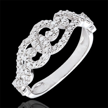 White Gold Diamond Ring with Entwined Arabesques