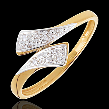 Ribbon-shaped ring yellow gold paved - 10diamonds