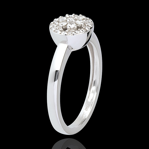 Rosette white gold paved ring - 0.26 carat
