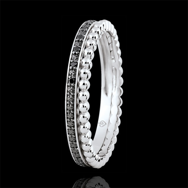Salty Flower Ring - double row - black diamonds - 18 carat white gold