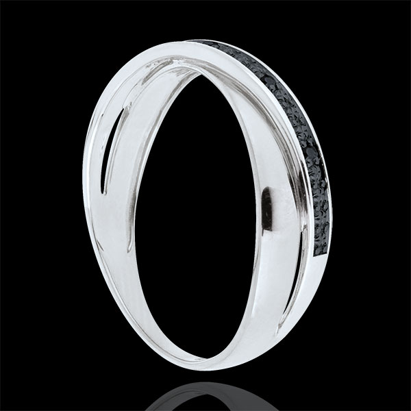 Saturn Duo Wedding Ring - black diamonds - 9 carat