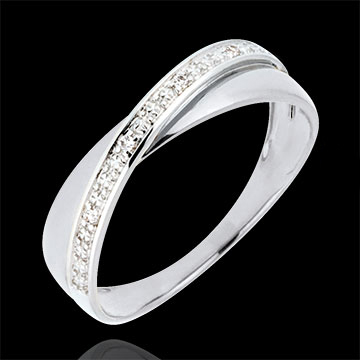 Saturn Duo Wedding Ring - diamonds - White gold - 18 carat