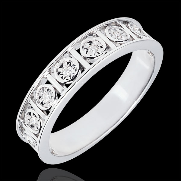 Secret Love Wedding Band with 9 Diamonds