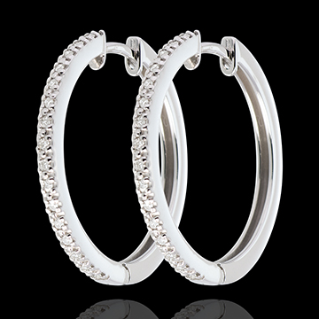 Semi-paved hoops white gold - 32diamonds