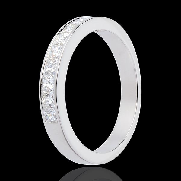 Semi-paved wedding ring white gold channel setting - 0.8 carat - 10 diamonds