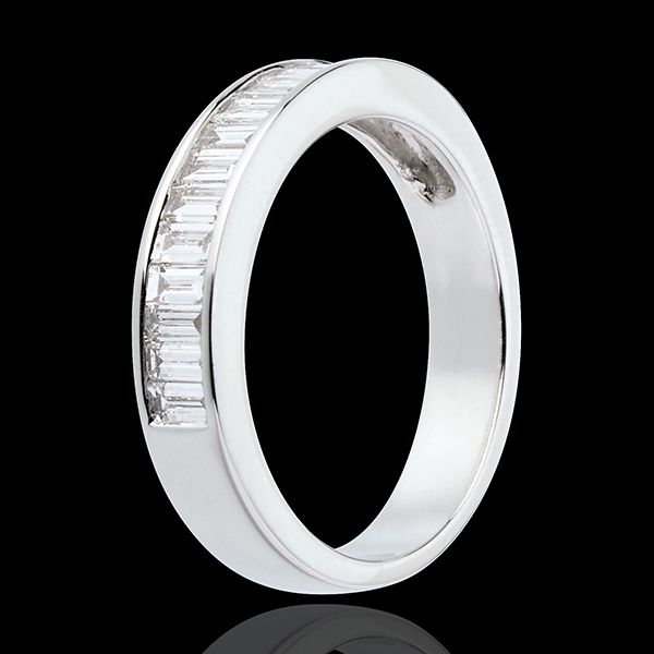 Semi-paved wedding ring white gold channel setting - 1.04 carat