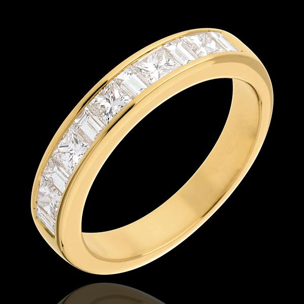 Semi-paved wedding ring yellow gold channel setting - 1 carat