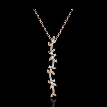 Shaft Necklace Enchanted Garden - Foliage Royal - pink gold and diamonds - 18 carats