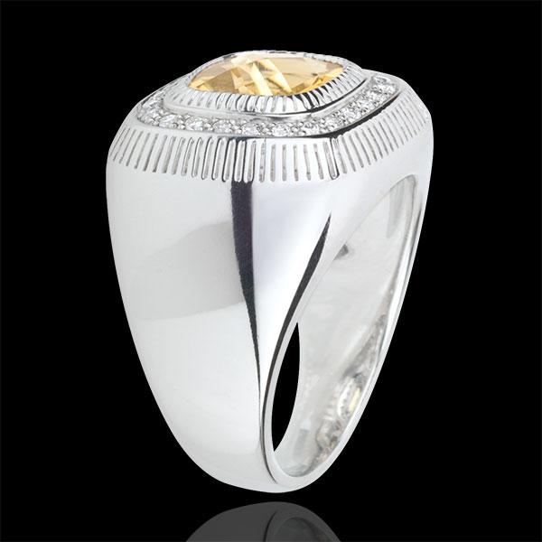 Solar Eye Ring - Silver, diamonds and fine stones