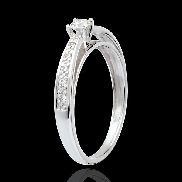 Solitaire Arcadă aur alb de 18K pavat - diamant 0.15 carate