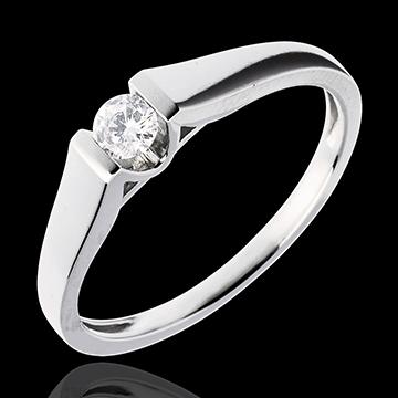 Solitaire arche or blanc 18 carats - diamant 0.14 carat