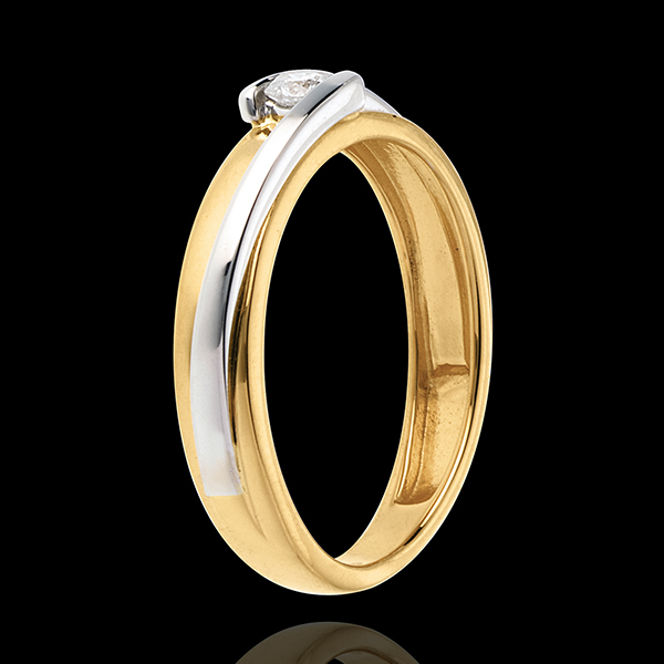 Solitaire Bipolaire - diamant 0.08 carat - or blanc et or jaune 18 carats