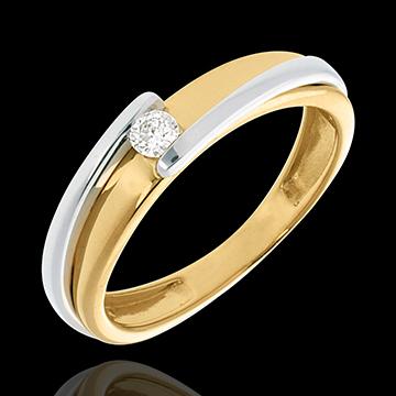 Solitaire Bipolar - diamant 0.08 carate - aur alb şi aur galben de 18K