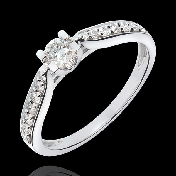 Solitaire Comtesse 18 karaat witgoud - Diamant 0.18 karaat