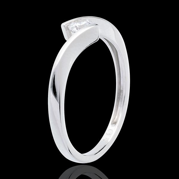 Solitaire Cuib Preţios - Apostrof - aur alb de 18K - diamante de 0.16 carate