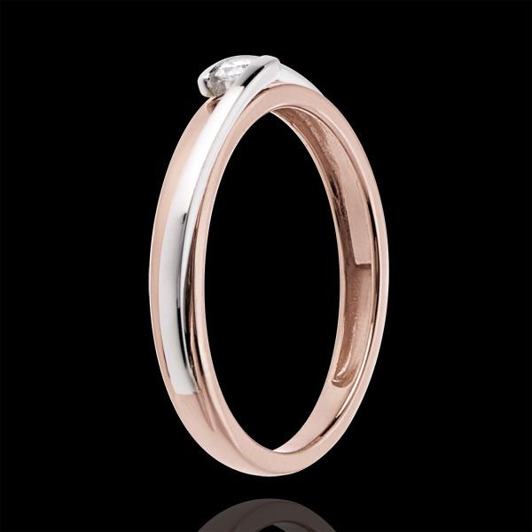 Solitaire Cuib Preţios - Bipolar - diamant 0.04 carate - aur alb şi aur roz de 18K