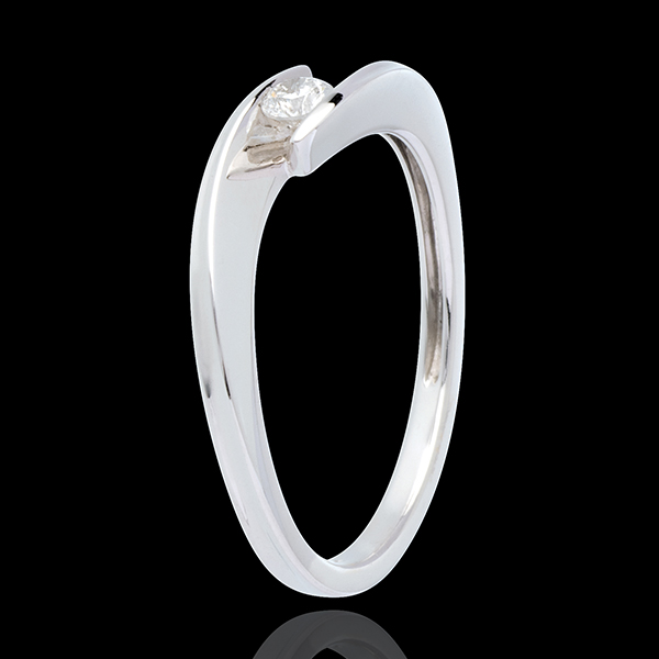 Solitaire Cuib Preţios - Golf - aur alb de 18K - 0.11 carate