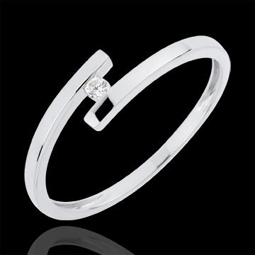 Solitaire Cuib Preţios - Iubire Pură - aur alb de 18K - diamant 0.03 carate
