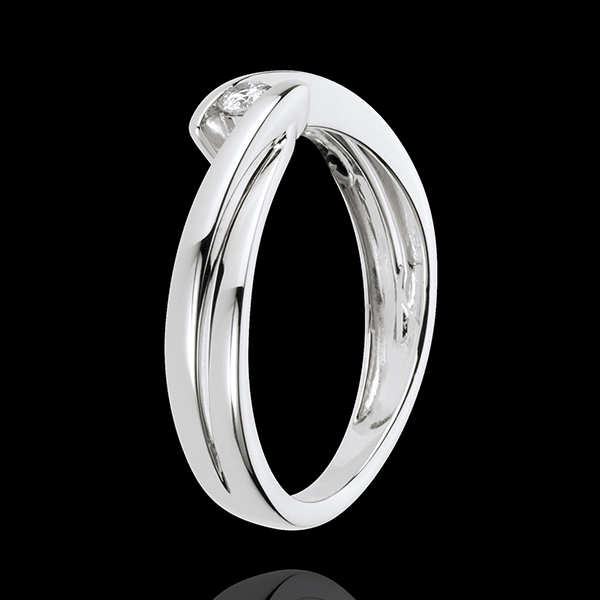 Solitaire Cuib Preţios - Ondine - aur alb de 18K - 1 diamant: 0.07 carate.