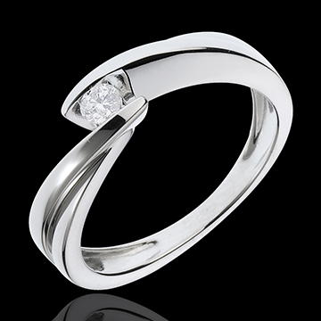 Solitaire Cuib Preţios - Ondine - aur alb de 18K - 1 diamant: 0.11 carate.