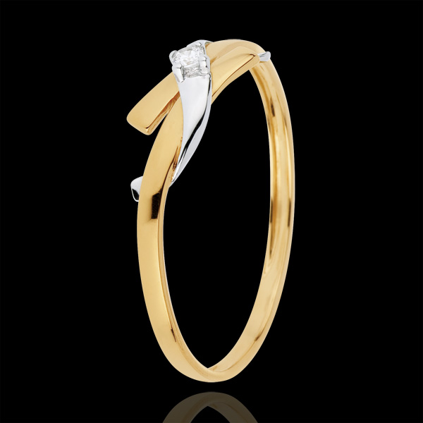 Solitaire Cuib Preţios - Paradis - aur alb şi aur galben de 18K
