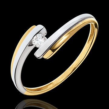 Solitaire Cuib Preţios - Sistem solar - diamant 0.08 carate - aur alb şi aur galben de 18K