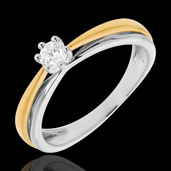 Solitaire double-arch white and yellow gold
