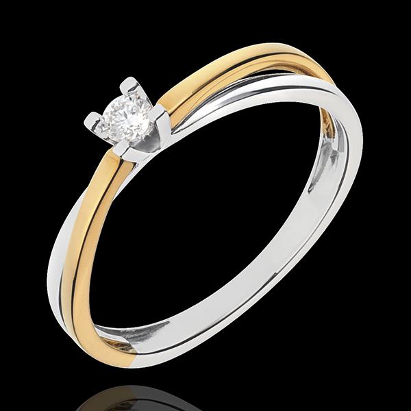 Solitaire Duetino - diamant de 0.08 carate - aur alb şi aur galben de 18K