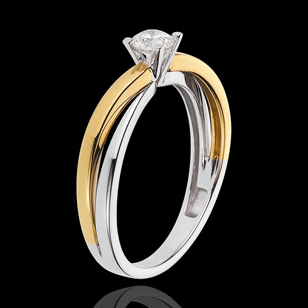 Solitaire Duetino - diamant 0.23 carat - or blanc et or jaune 18 carats