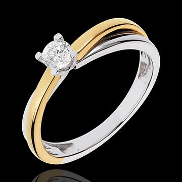 Solitaire Duetino - diamant de 0.23 carate - aur alb şi aur galben de 18K