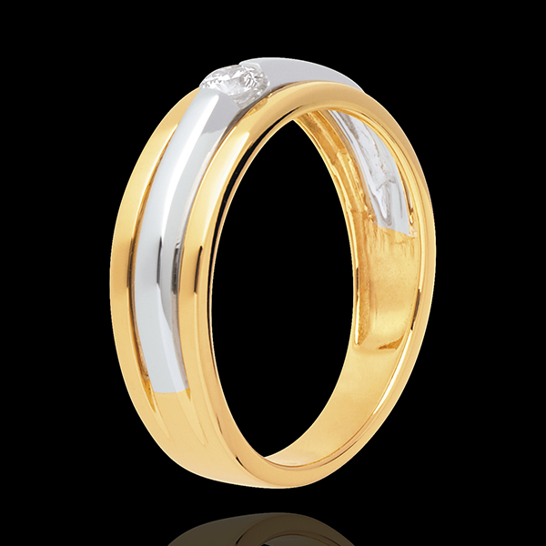 Solitaire Eclipse - diamant 0.13 carat - or blanc et or jaune 18 carats