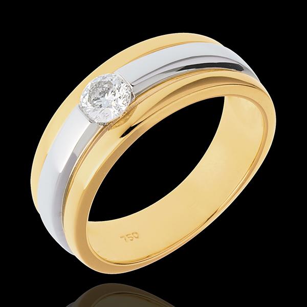 Solitaire Eclipse - diamant 0.27 carats - or blanc et or jaune 18 carats