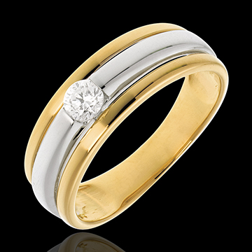 Solitaire Eclipse or blanc et or jaune 18 carats