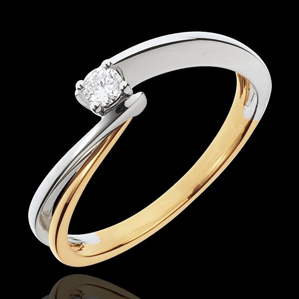 Solitaire Gloeidraad - 18 karaat geelgoud en witgoud - 0.08 karaat Diamant