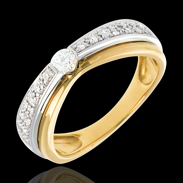 Solitaire Maharajah pavé - 23 diamants 0.25 carats - or blanc et or jaune 18 carats
