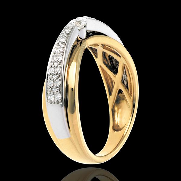 Solitaire Maharajah pavézetting witgoud en geelgoud - 0.25 karaat - 23 Diamanten - 18 karaat goud