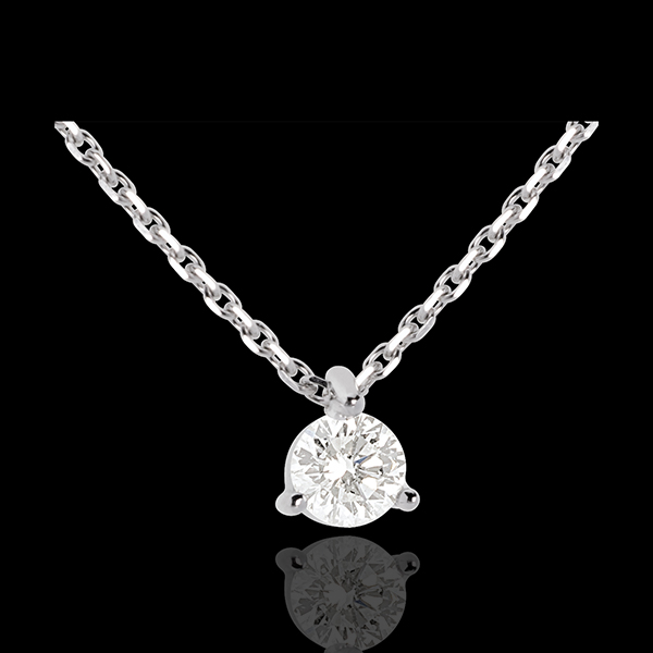 Solitaire necklace white gold - 0.26 carat