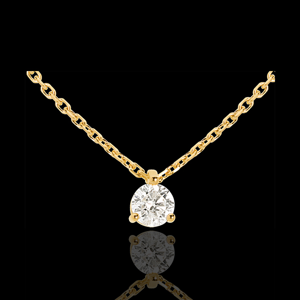 Solitaire necklace yellow gold - 0.305 carat