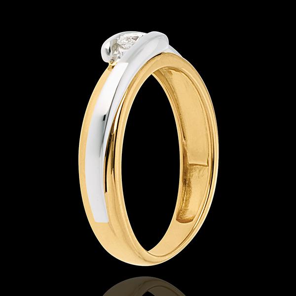 Solitaire Nid Précieux - Bipolaire - or blanc et or jaune 18 carats