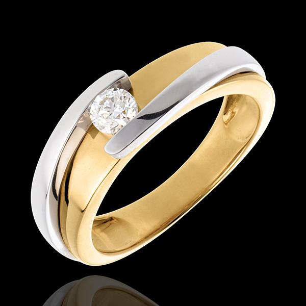 Solitaire Nid Précieux - Bipolaire - (TGM) - diamant 0.23 carat - or blanc et or jaune 18 carats
