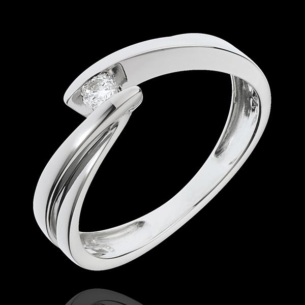 Solitaire Nid Précieux - Ondine - or blanc 18 carats - 1 diamant : 0.07 carat