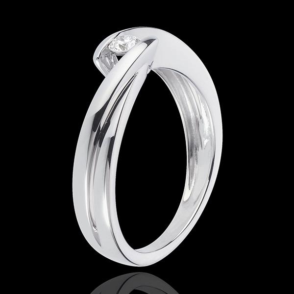 Solitaire Nid Précieux - Ondine - or blanc 18 carats - 1 diamant : 0.11 carat